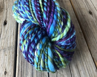 Handspun Bulky Yarn   Polwarth Wool   Lovely Lagoon   lime green sky blue violet purple   2 ply