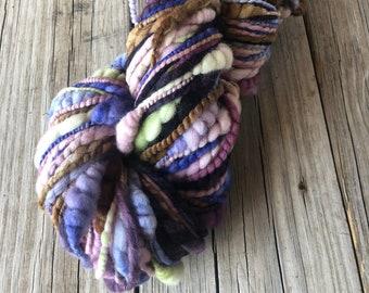 Handspun Coils Art Yarn | handspun yarn | soft merino wool | beehives | lavender dusty rose blue lime | bulky yarn