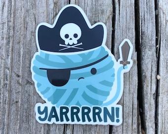 Yarn Sticker, Yarn Pirate Sticker, vinyl sticker decal, knitting sticker, crochet sticker