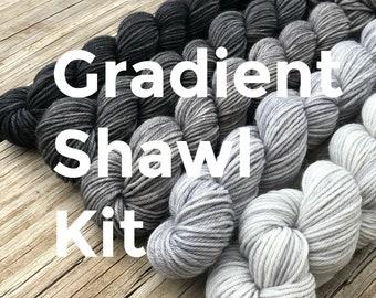 Gradient Shawl KIT | Sock Yarn Miniskeins | hand dyed sock yarn | silver gray black