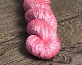 Pink Hand Dyed DK Yarn, silk merino yarn, Damsel in Distress, Silken Purls
