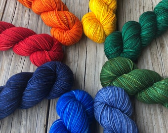 Hand Dyed Worsted Weight Yarn, Dyed To Order, Treasured Warmth, Red, Orange, Yellow, Greens, Blues