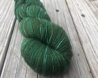 Hand Dyed Sparkle Sock Yarn, Forest Green, Land Ho! Sparkle Toes