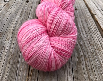 pink cashmere sock yarn, Hand Dyed Sock Yarn, Damsel in Distress, Cashmere Super Toes, 600 yard skeins