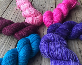 Hand Dyed DK Yarn | Dyed To Order | DK Treasures | Pinks, Purples, Turquoise, Magenta