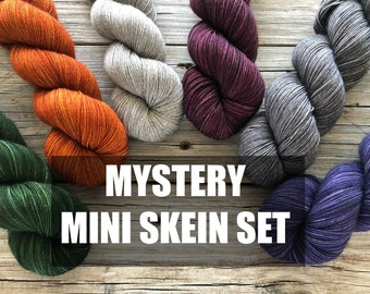 Mystery Mini Skein Set, Sock Yarn Miniskeins, Set of 8 and full sized skein, Yak Sock Yarn