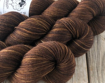 Hand Dyed YAK Sock Yarn, Chocolate Brown, Walk the Plank, Treasured Yak Toes