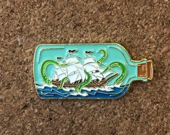Release the Kraken enamel pin, ship in a bottle pin, gift for knitters crocheters pirates