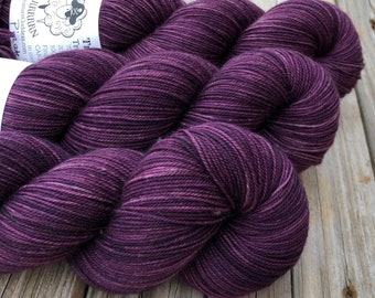 Hand Dyed YAK Sock Yarn, Purple, Pirates Like Eggplant Too, Treasured Yak Toes
