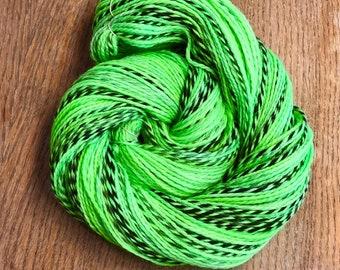 Lime Green Hand Dyed DK Yarn, Peruvian Highland Wool, No Scurvy Bag of Limes, Pirate Sheep Dk Yarn