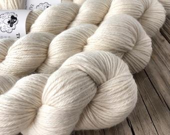Natural cream cashmere silk alpaca yarn, Hand Dyed DK Yarn, White Sand Beaches, Treasured DK Luxe