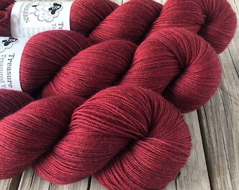 Hand Dyed YAK Sock Yarn, Red, Blood Rubies, Treasured Yak Toes