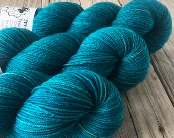 Hand Dyed YAK Sock Yarn, Teal, Mermaid's Curse, Treasured Yak Toes