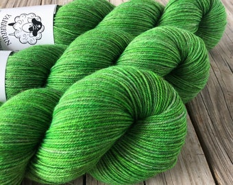 Hand Dyed YAK Sock Yarn, Lime Green, Limey, Treasured Yak Toes