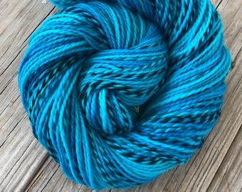 Turquoise Hand Dyed DK Yarn, Peruvian Highland Wool, Mermaid's Curse, Pirate Sheep Dk Yarn