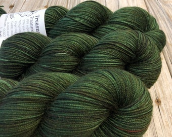 Hand Dyed YAK Sock Yarn, forest green, Land Ho! Treasured Yak Toes