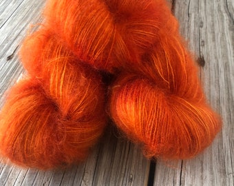 hand dyed kid silk mohair yarn, orange, lusty wench, lace weight yarn