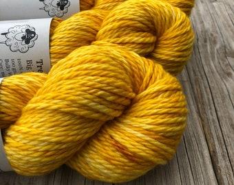 Hand Dyed Bulky Yarn | Butter Yellow Yarn | Yellowtail | 100% superwash merino wool 106 yards
