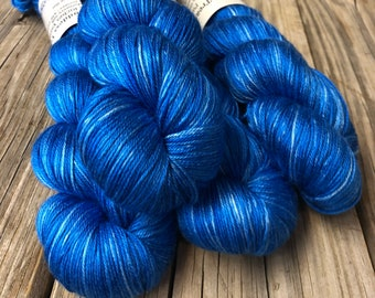Pure Silk Yarn, sapphire blue, fingering weight yarn, Swimmin' with the Fishes