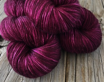 Pure Silk Yarn, wine magenta, Fingering Weight Yarn, Song of the Sirens