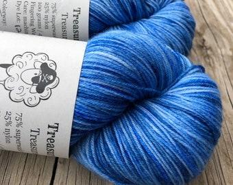 Hand Dyed Sock Yarn | True Blue Skies | Treasured Toes Sock Yarn | superwash merino wool nylon swm