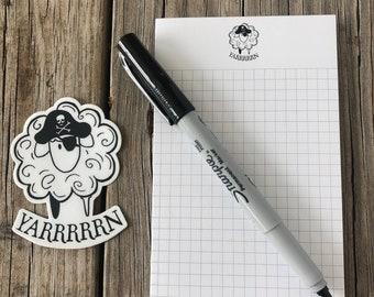 Pirate Sheep Notepad, Knitting Notepad