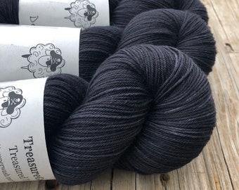Hand Dyed DK Yarn | dark charcoal gray yarn | DK Treasures | Gunpowder | superwash merino wool swm