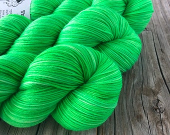 Hand Dyed Sparkle Sock Yarn, Lime Green, No Scurvy Bag of Limes, Sparkle Toes