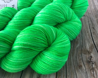 Hand Dyed Sock Yarn, lime green, No Scurvy Bag of Limes, Treasured Toes