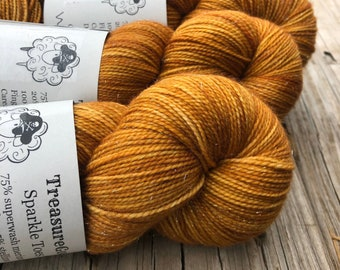 Hand Dyed Sock Yarn | light copper | Sparkle Toes | Why is the Rum Gone? | superwash merino nylon stellina swm
