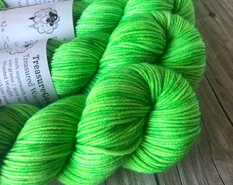 lime green Hand Dyed Worsted Weight Yarn, No Scurvy Bag of Limes, Treasured Warmth