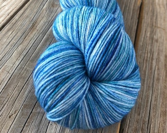 Hand Dyed Sock Yarn, sky blue teal, City of Fountains, Treasured Toes, lighter dye lot