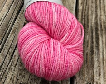 OOAK Pink Hand Dyed DK Yarn, Damsel In Distress, DK Treasures