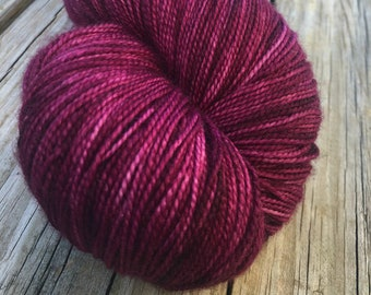 hand dyed sock weight yarn Song of Sirens Shawl Length Super Skein Superwash Merino Cashmere Nylon MCN 600 yards ready to ship maroon