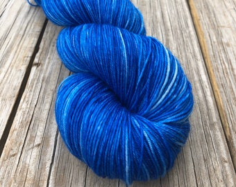 sapphire blue Hand Dyed DK Yarn, Swimmin with the Fishes, DK Treasures