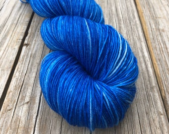 Hand Dyed Sock Yarn, Royal Blue, Swimmin with the Fishes, Treasured Toes