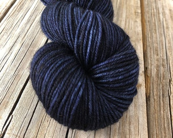 navy blue Hand Dyed DK Yarn, Fathoms Deep, DK Treasures