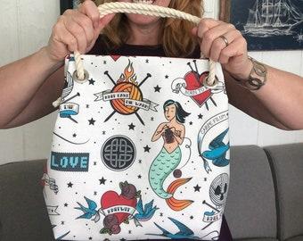 Knitting Mermaids, Extra Large Project Bag, lined bag, rope handled craft bag, knitting bag, crochet bag