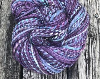 Violet Cove Handspun yarn Soft superfine merino wool tussah silk baby camel down Yarn Bulky Weight Two Ply 2 Ply 69 yards plum purple teal