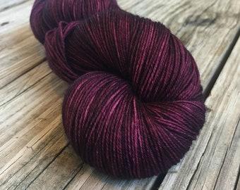 Feelin Fine with Blackberry Wine Yarn Hand Dyed Sock Weight Yarn Painted 463 yards superwash merino nylon swm burgandy purple ready to ship