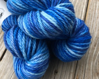blue Hand Dyed Bulky Yarn, Bluebeard, Big Treasures