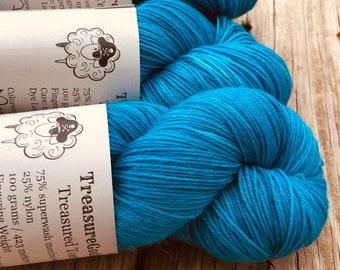 Hand Dyed Sock Yarn, Turquoise Teal, Mermaid's Curse, Treasured Toes Sock Yarn