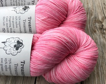 Hand Dyed Sock Yarn, Pink, Damsel in Distress, Treasured Toes Sock Yarn
