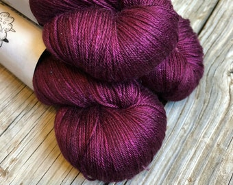 Hand Dyed Pure Silk Fingering Weight Yarn Song of the Sirens 100% mulberry silk burgandy cranberry cabernet wine sock yarn 436 yards