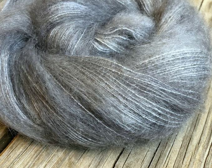 hand dyed kid silk treasures lace yarn brushed kid mohair silk yarn ghost ship gray lace weight yarn