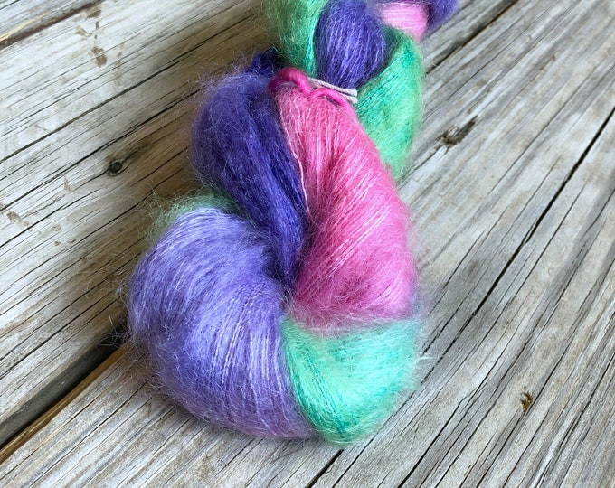 hand dyed kid silk treasures lace yarn brushed kid mohair silk yarn Pretty Lass pink purple spring green lace weight yarn