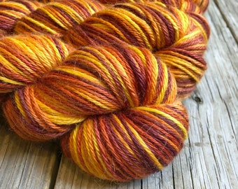 Hand Dyed Treasured DK Luxe Yarn Softer Sailing into the Sunset colorway 246 yards baby alpaca silk cashmere luxury yarn sport weight