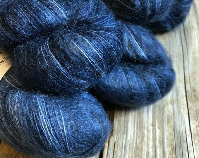 hand dyed kid silk treasures lace yarn brushed kid mohair silk yarn Davy Jones' Locker navy blue midnight blue lace weight yarn