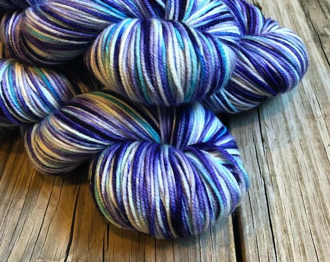 Hand Dyed DK Yarn Tidal Pools 274 yards dk sport weight Superwash Merino Wool royal purple lilac turquoise blue white ready to ship