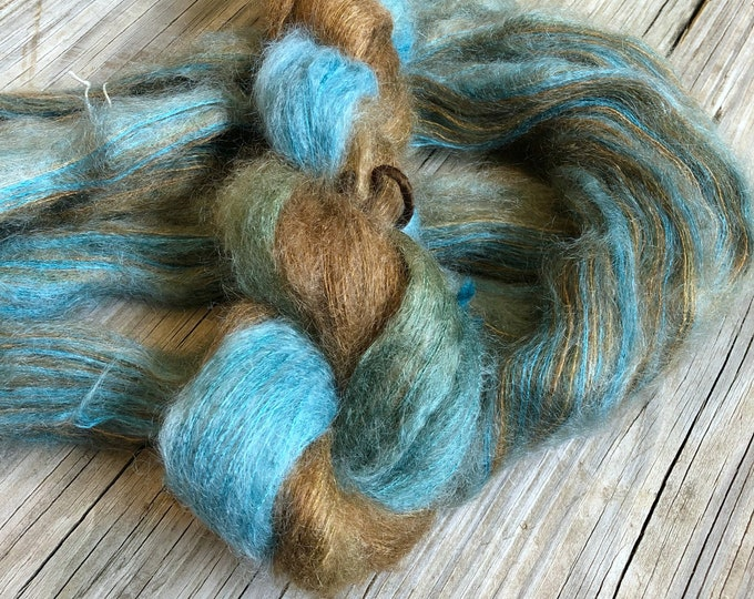 hand dyed kid silk treasures lace yarn brushed kid mohair silk yarn Treasure Chest teal turquoise chocolate brown lace weight yarn